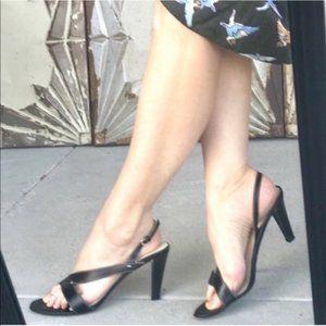 COACH Black  Leather Kyra  Heels 7.5 slingback
